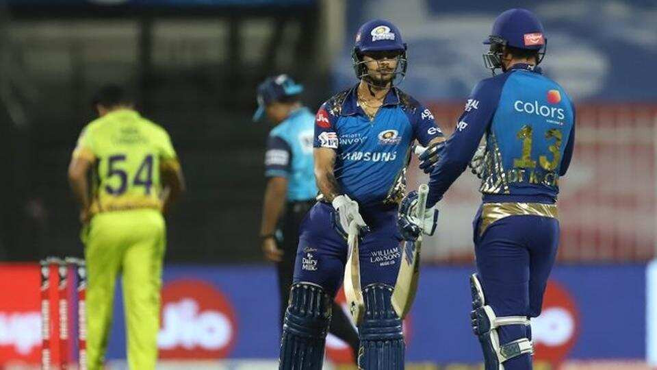 Mumbai Indians had an amazing start tonight, aided by openers Quinton de Kock and Ishan Kishan's amazing partnership. While de Kock played a brilliant innings of undefeated 46 runs off 37 balls, Kishan played an explosive knock of undefeated 68 runs off 37 balls aided by 5 sixes and 6 fours tonight. Quinton de Kock and Ishan Kishan dominated the CSK bowlers, as MI successfully chased down the target of 115 runs given by CSK in the 13th over itself. CSK bowlers remained unsuccessful as none of them remained successful in grabbing a single wicket tonight.