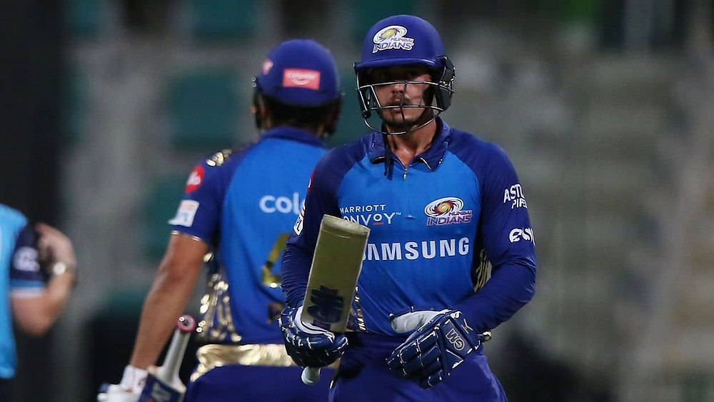 In the 32nd match of the Indian Premier League (IPL) 2020, Mumbai Indians (MI) beat Kolkata Knight Riders (KKR) by 8 wickets at Sheikh Zayed Stadium in Abu Dhabi. Quinton de Kock's undefeated knock of 74 runs 44 off balls helped MI to have a successful chase against KKR tonight. Aided by the new skipper Eoin Morgan and Pat Cummins's brilliant partnership, KKR gave a low target of 149 runs for the MI to chase after a slow start tonight. With tonight's win against KKR, MI Indians are now back to the top points table of the 13th edition of IPL after dethroning Delhi Capitals (DC). MI bowlers dominated the KKR's batting line-up, with Rahul Chahar being the most successful bowler for the MI and grabbed 2 wickets. Hardik Pandya's explosive cameo of undefeated 21 runs off 11 balls helped MI in securing a successful chase against KKR tonight.