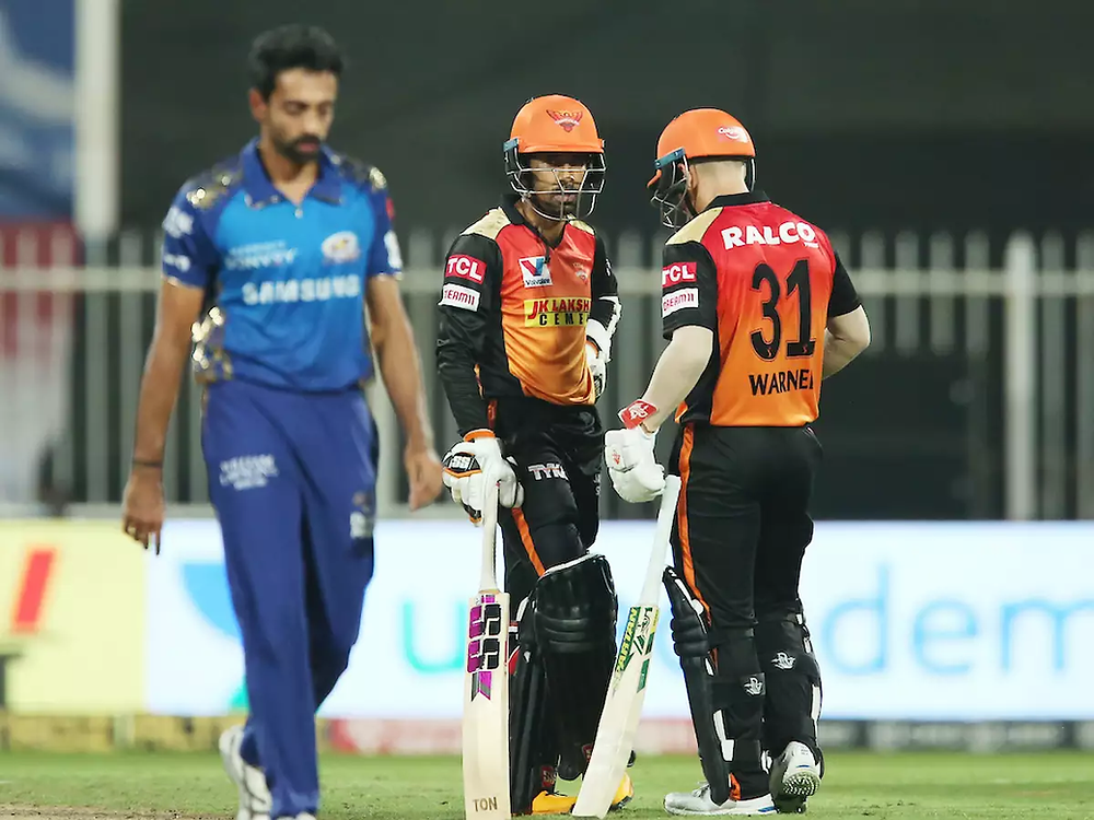 In the 56th match of the Indian Premier League (IPL) 2020, Sunrisers Hyderabad (SRH) beat Mumbai Indians (MI) by 10 wickets at Sharjah Cricket Stadium in UAE. Skipper David Warner and Wriddhiman Saha single-handedly chased down the target given by MI tonight. Aided by Kieron Pollard's last-minute explosive push of 41 runs off 25 balls, MI gave a decent target of 150 runs for the SRH to chase tonight. With tonight's massive win against Mumbai Indians, Sunrisers Hyderabad has now officially qualified for the playoffs of the 13th edition of IPL. While SRH now stands at the 3rd position in the points table, MI sits comfortably at the pinnacle of the points table of IPL 2020. Whereas, with SRH's massive victory tonight, KKR has now been eliminated from making into the playoffs of IPL 2020.