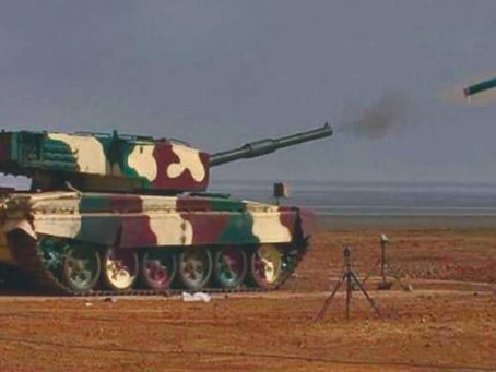 DRDO: Laser Guided Anti Tank Guided Missile (ATGM) successfully fired from MBT Arjun Tank