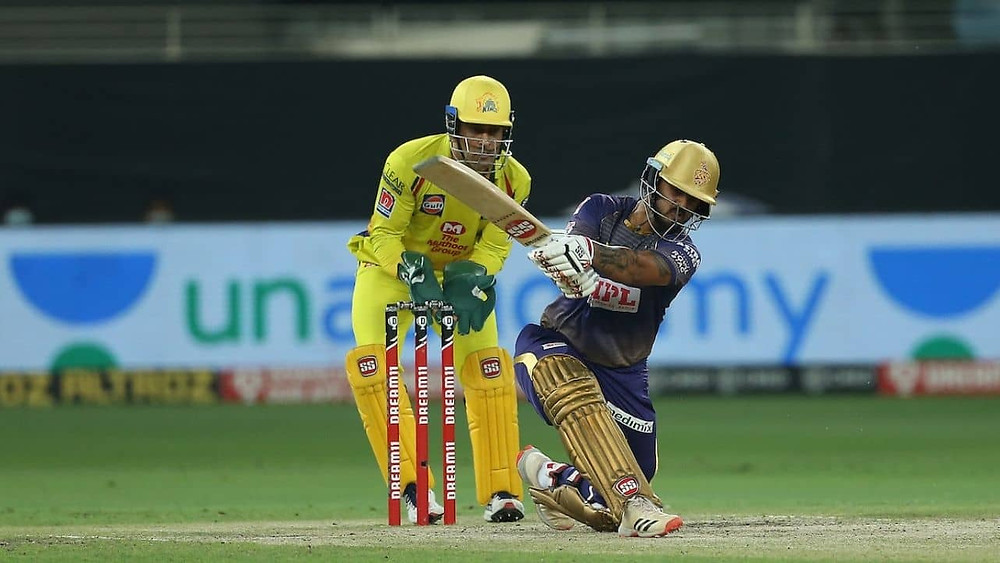 MS Dhoni won the toss and elected to field first. Kolkata Knight Riders had a good start aided by its openers tonight. While Shubhman Gill played an innings of 26 runs off 17 balls, Nitish Rana shined for the KKR tonight with his impressive innings of 87 runs off 61 balls aided by 4 sixes and 10 fours. After the fall of the wicket of Gill, Sunil Narine came to the crease but departed early after making just 7 runs tonight. Rinku Singh played slowly and lost his wicket after making 11 runs off 11 balls for the KKR tonight. Skipper Eoin Morgan and Dinesh Karthik's last-minute push allowed KKR to set a decent target of 173 runs for the CSK to chase tonight. While Morgan lost his wicket after making 15 runs off 12 balls, Karthik played a quick cameo of undefeated 21 runs off 10 balls for the KKR tonight. Lungi Ngidi remained successful in grabbing 2 wickets for the CSK in his spell of 4 overs tonight. Mitchell Santner, Ravindra Jadeja, and Karn Sharma also remained successful in taking a wicket each for the CSK in their respective spells tonight.