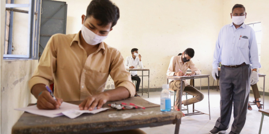 students giving JEE and NEET examination in India during corona virus crisis or COVID