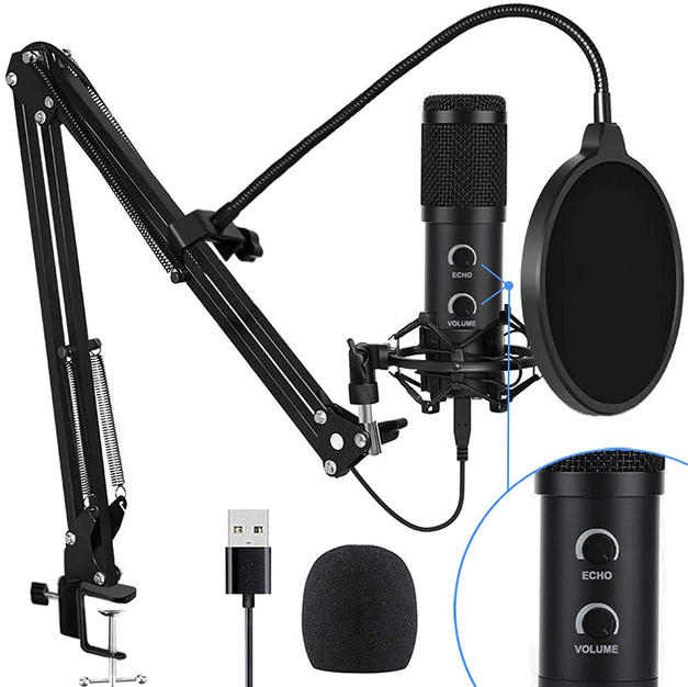 【2020 Upgraded】 USB Condenser Microphone for Computer