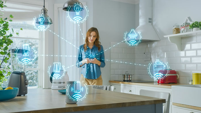 Internet of Things Concept: Young Woman