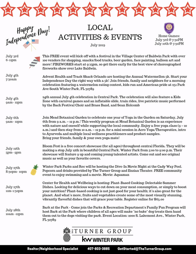 July 2019 Events!