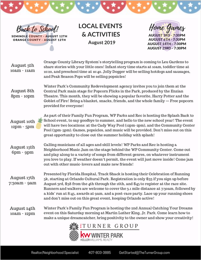 August 2019 Events!