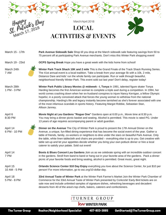 March UPDATES with some April info!!