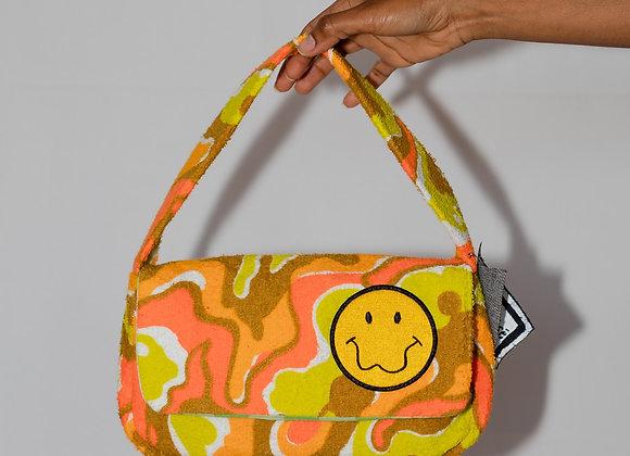 Terry Cloth Flap Baguette Bag