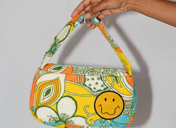 Terry Cloth Zipper Baguette Bag