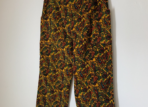 Yellow Paisley Corduroy Trousers