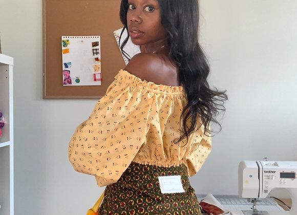 Green Corduroy Flap Skirt