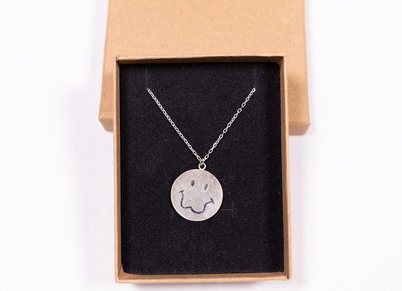 Sterling Silver Smiley Face Logo Necklace