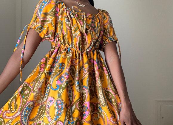 Orange Paisley Peasant Dress