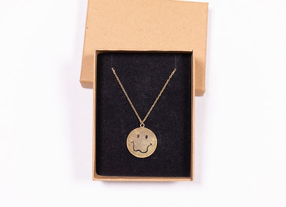 Gold Plated Smiley Face Logo Necklace