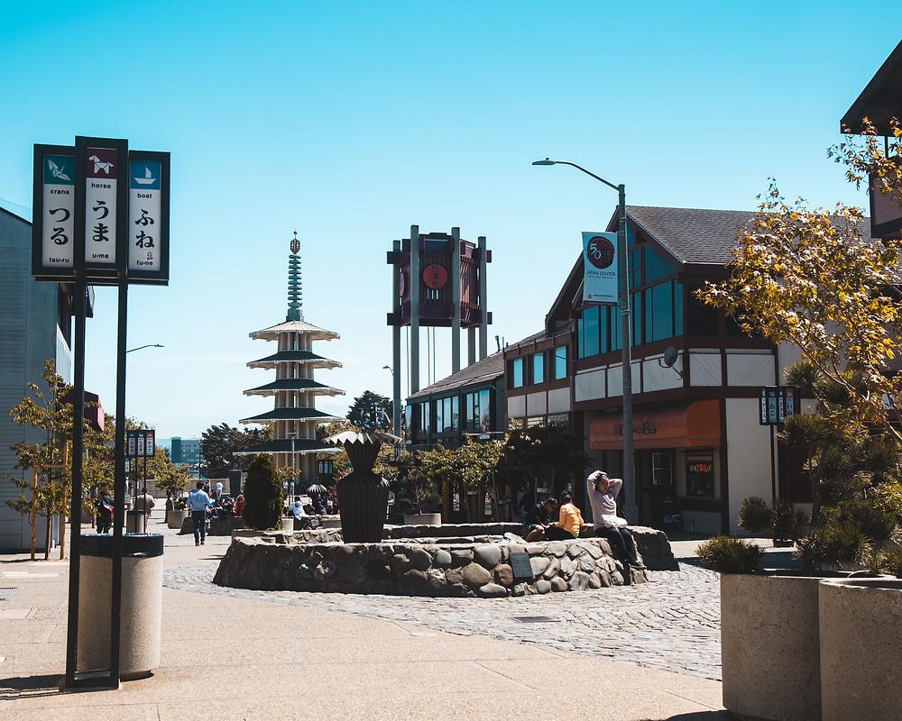 Early morning photograph of Japantown, San Francisco