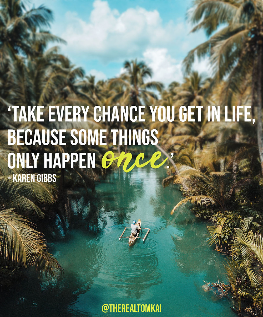 "Quote that says, ""Take every chance you get in life, because some things only happen once."" by Karen Gibbs"