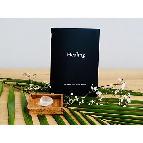 Healing Booklet with Clear Quartz Crystal