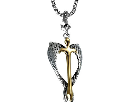 Christian Pendant Necklace Guardian Angel Wings Sword Cross Living In Faith Necklace