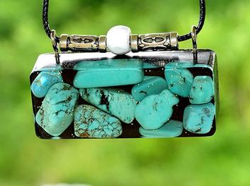 Oblong Turquoise Gem Orgonite Abundance Purpose Love and Protection Reiki Pendant Shungite Infused Necklace