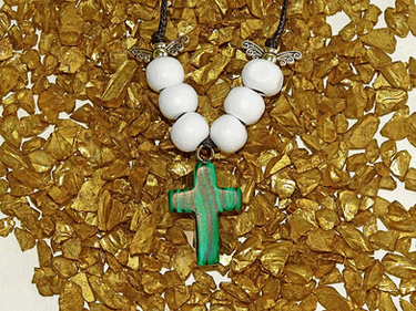 Malachite Gem Cross Necklace from The Heard Word Collection