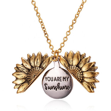 Sunflower You are My Sunshine Necklace with Fun Center Revealed