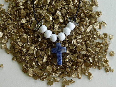 Blue Spot Stone Gem Cross Necklace from The Heard Word Collection