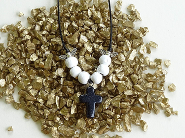 Blue Goldstone Gem Cross Necklace From The Heard Word Collection