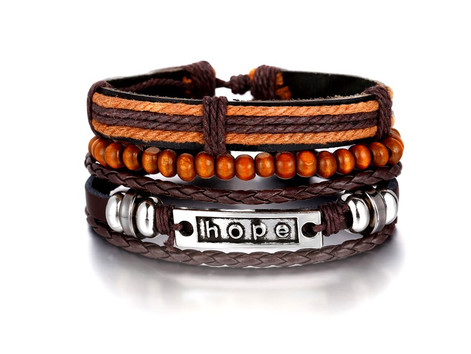Hope Multi Layer Bead And Leather 3 Piece Living In Faith Bracelet