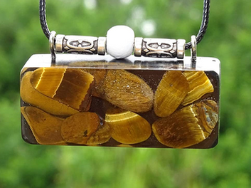 Oblong Tiger Eye Orgonite Confidence Strength Courage Reiki Pendant Shungite Infused Necklace