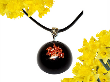 Raw Crystal Quartz And Copper Dome Pendant EMF Protection