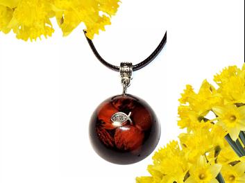 Cherry Quartz Ichthus Pendant Necklace With Protection EMF Neutralizer