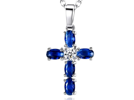 Gemstone Cross Necklace Living in Faith Necklace