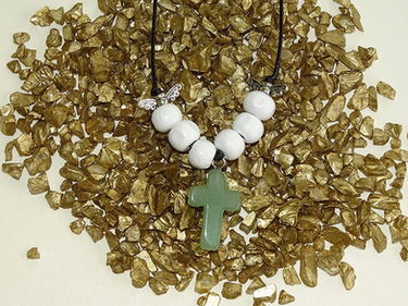 Green Aventurine Gem Cross Necklace from The Heard Word Collection