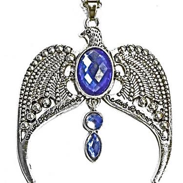 Vintage Antique Silver Eagle Crown Diadem Pendant 20inch Chain-link Necklace