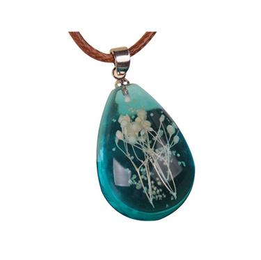 Teardrop Aqua Marine Pendant Necklace