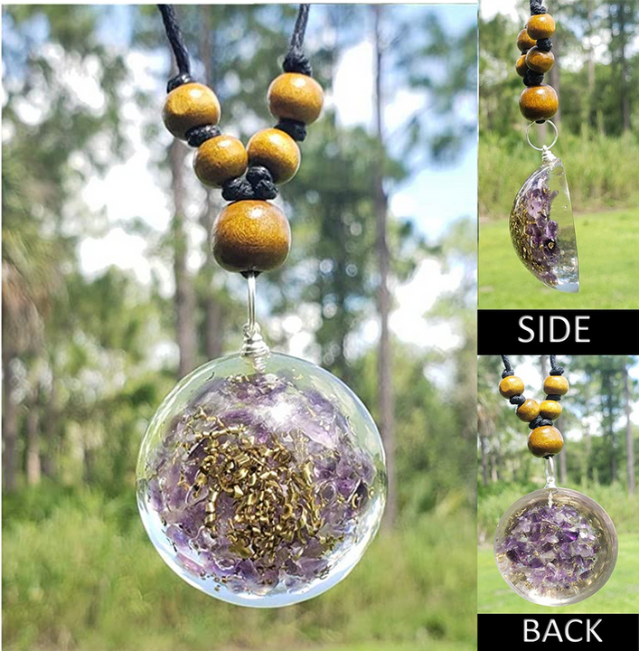 EMF Protection L Dome Amethyst and Copper Gemstone Orgonite Reiki Pendant Necklace