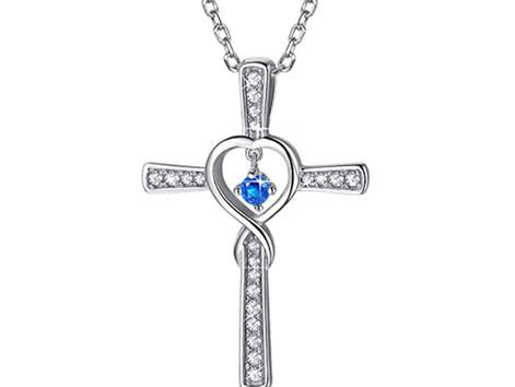 Infinity Heart Crystal Cross Living In Faith Necklace