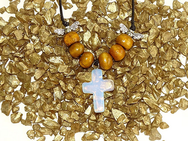 Opalite Gem Cross Necklace from The Heard Word Collection