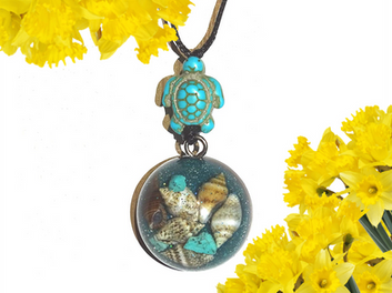 Turtle Shell Turquoise Gem Dome Orgonite Pendant Shungite Infused Reiki Necklace