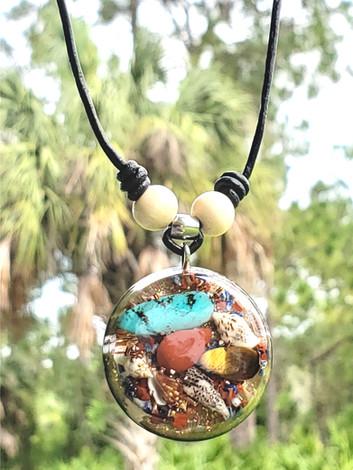 Disk Mix Gem Orgonite Crystal Gemstone Reiki Pendant Shungite Necklace