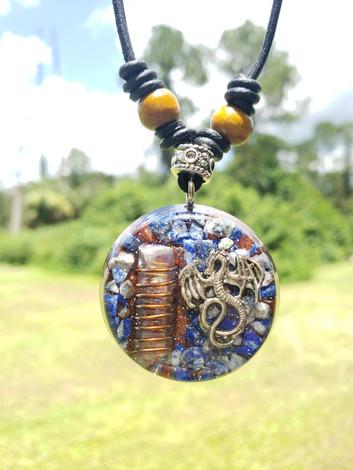 Dragon Copper Coil Quartz Crystal With Lapis Lazuli Disk Orgonite Reiki Pendant With Shungite Necklace