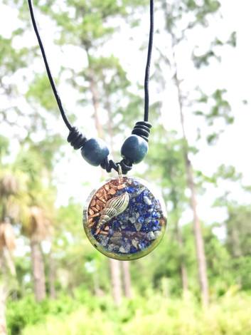 Disk Silver Shell Lapis Lazuli Copper Reiki Orgonite Pendant Shungite Necklace