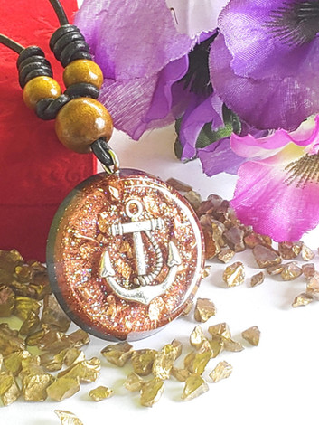 Glisten Umber Anchor Disk With Crushed Raw Quartz Orgonite Reiki Pendant With Shungite And Copper Orgone