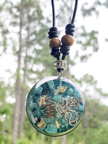 Dragon Turquoise Gem Copper Coil Quartz Disc Orgonite