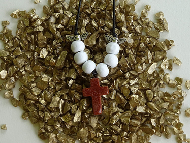 Goldstone Gem Cross Necklace from The Heard Word Collection
