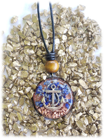 Anchor Lapis Lazuli And Copper Chip Disk Orgonite