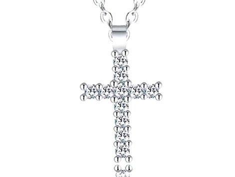 Christian Gifts Silver Dainty Crystal Cross Living In Faith Pendant