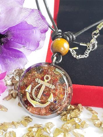 Anchor Disk Mix Gem Quartz Orgonite Quartz Crystal Reiki Pendant Shungite And Copper Necklace