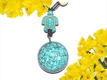 Turquoise Turtle Gemstone Dome Orgonite Pendant Shungite Infused Reiki Necklace
