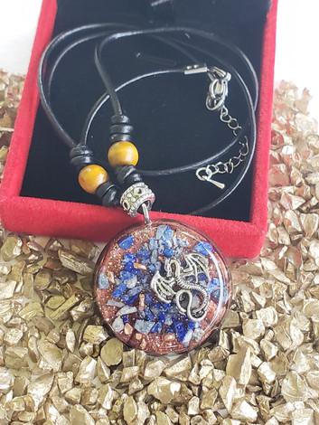 Dragon Lapis Lazuli Copper Chip Disk Orgonite
